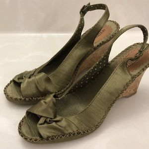 Seychelles Dark Green Satin Wedges